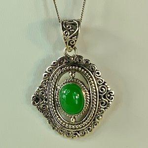 Burmese Green Jade Sterling Silver Pendant
